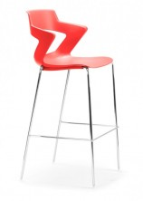Zen Bar Stool. Chrome Frame. Choice Of 8 Colours. Red, Orange, White, Sand