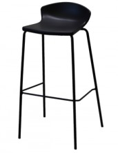 Easy Bar Stool, Black Painted Frame C493BBL. Choice Of Black Or White Shell. Chrome Frame Available