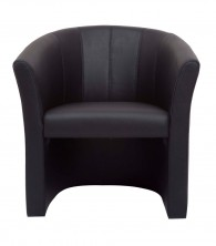 Space Executive Single Tub Chair With Stitching. Black PU Vinyl Only