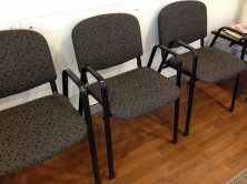 Delegate Goulburn Chairs With Arms. Black Steel Arms. Any Fabric Colour