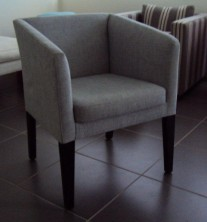 Zac Single Tub Chair. Square Back. Stained Timber Legs. Any Fabric