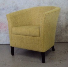 Ivana Single Tub Chair. Low Timber Leg Stained. Any Fabric Colour