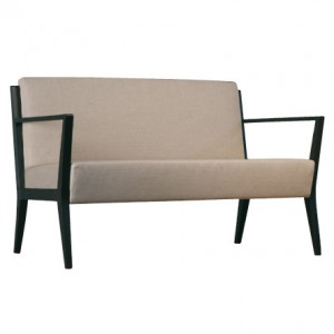 Cinquanta C510 Double Lounge. Fabric Seat And Back. Open Timber Arms. Stained Frame. Any Fabric Colour