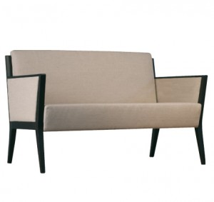 Cinquanta C510 FA Double Lounge. Fabric Arm Panel Infill. Stained Frame. Any Fabric Colour