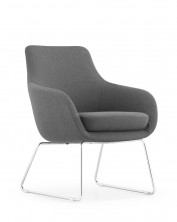 Iris Waiting Room Chair. Chrome Sled Base. Grey Fabric Only
