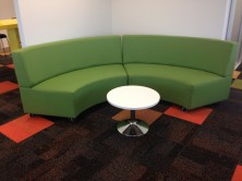 Glow Lounge Ottoman With Back Curved Reception Seating Modular. Any Fabric Colour