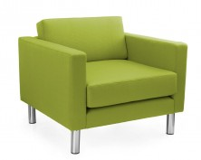 Lulu Single Lounge With Arms. Chrome Legs. Any Fabric Colour
