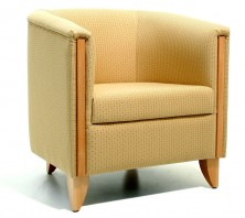 Globe Single Tub Chair. Timber Feature. Available 2 Seater. Any Fabric Colour