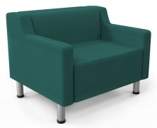 Drop 1 Seater Lounge. Chrome 4 Legs. Any Fabric Colour
