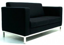 Demi 2 Seater Lounge. Available 3 Seater. Chrome Metal Base. Any Fabric Colour