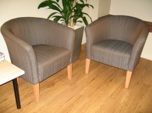 Capri Single Tub Chairs. Timber Legs. Any Fabric Colour