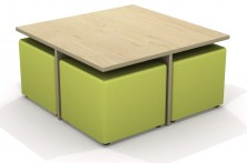 Missoni Table Set Square. Low Table. 4 X 450 Sq Cube Ottomans And Table. Any Fabric Colour