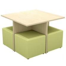 Missoni High Table Set Square. 4 X 450 Sq Cube Ottomans And Table. Any Fabric Colour