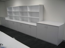 Photo Shows Combination Of 725 H And 900 H Credenza Units With Overhead Bookcases