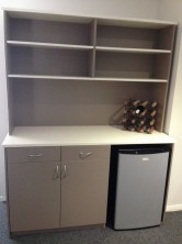 Axis 18 Custom 2 Doors, Open Section For Fridge. Overhead Hutch