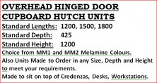 Overhead Hinged Door Units. Various Sizes. MM1 And MM2 Melamine Colours