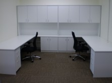 Special Overhead Hutch Unit With Hinged Doors To Sit Above 2 Desk Returns
