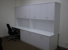 Special Workstation And Credenza Setting With Overhead Hinged Door Hutch Units
