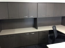 Custom Credenzas With Overhead Hinged Door Storage
