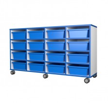 Mobile Tote Tray Unit 16   Blue