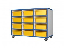 Mobile Tote Tray Unit 12   Yellow