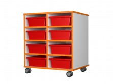 Mobile Tote Tray Unit 8   Red