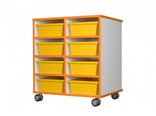 Mobile Tote Tray Unit 8   Yellow