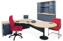 P End Conference Desk 2400 X 900 X 1200 Dia Fitted With Disc Base And Attached Return