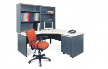 Ecotech MM1 Gable Ended 90 Degree Workstation 1800 X 600 X 1800 X 600 Truncated Corner With Overhead Bookcase, Mobile Ped