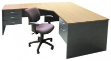 Ecotech Desk 1800 X 900 With Splayed Attached 1200 X 600 Return Both With Fitted Drawer Pedestals