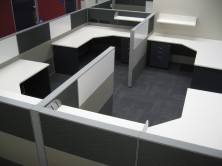 Ecotech Gable Ended 90 Degree Workstations With Truncated Corner And Staxis Tile Base Screens