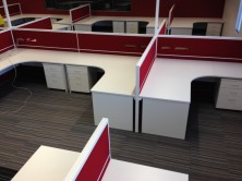 Ecotech Gable Ended 90 Degree Workstations With Curved Corner And Staxis Tile Base Screens