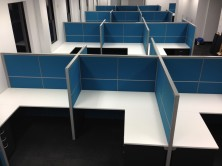 Ecotech Square Corner Desks And Returns With Staxis Tile Base Screen Fitout