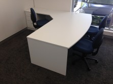 Ecotech Bow Front Desk. 2000 X 900 X 1050 With Attached Splayed 1200 X 600 Return