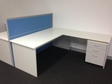 Axis 18 Desk 1800 X 750 With Attached 1200 X 600 Return. Mobile Pedestal