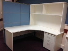 Ecotech And Axis 18 90 Degree Workstations. Option Of Overhead Hutch Shelf Units