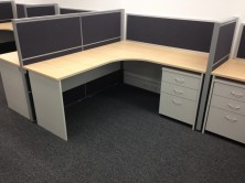Ecotech Workstation With Curved Corner. Choice Of MM1 And MM2 Melamine Colour Range