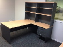 Desk Setting With Return. Fitted Drawers. Overhead Bookcase Unit. Bookcase 1800 L X 350 D X 1075 H