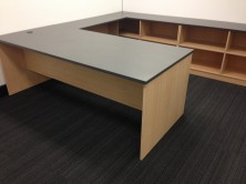 Custom Rectangle Shape Desk 2100 X 900. Attached 1050 X 450 Return. Flush Fitting Back Open Credenza Unit 450 Deep. Adjustable Shelves