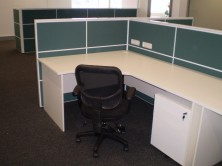 Ecotech Gable Ended Workstations With Ecotech Mobile Ped And Staxis Tile Base Screens. Choice Of Colours