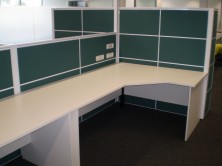 Ecotech Gable Ended Workstations And Desks With Staxis Tile Base Screens. Choice Of Colours
