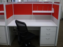 Ecotech Gable Ended Desks. Mobile Ped. Staxis Tile Base Screens And Screen Hung Shelf