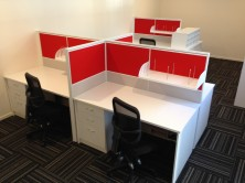 Ecotech Gable Ended Hot Desks With Staxis Tile Base Screens. Choice Of Colours