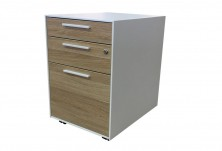 Alto Metal And Melamine Mobile Ped 410 W. White Metal With MM1 Or MM2 Drawers