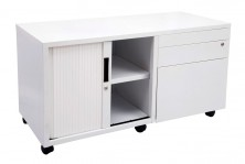 GCAD Metal Mobile Caddy. Quick Delivery. Drawer And Tambour Door 900 L. White Only. Left Or Right Drs