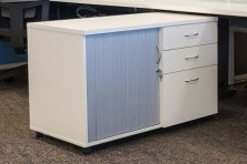 Ecotech Melamine Mobile Caddy With Tambour Door And Drawers 900 L. Choice Of MM1 Or MM2 Melamine Colours