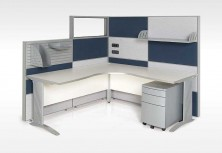Ecotech Metal C Leg 90 Degree Corner Workstation. Melamine Modesty. Staxis Tile Base Screens. Many Options Available