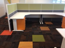 Ecotech Metal C Leg Workstations With Staxis Tile Base Screens
