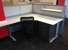 Incorporating Workstations With Screen Hung Shelving And Mobile Pedestal