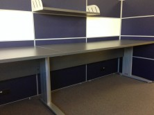 C Leg With Melamine Modesty Panel With Staxis Tile Base Screens. With Fabric And Whiteboard Tiles